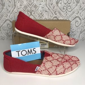 Toms Red Woven Slip-ons